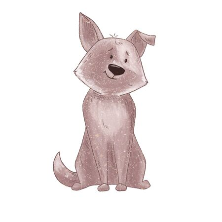 Cute dog cartoon illustration. Domestic animal. Funny and lovely pet. Puppy child t-short print isolated on white basground. Stock Photo
