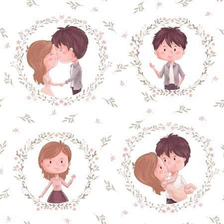 Cute couple pattern. Boy and girl, flower and wreath. Ornament for valentine day, wedding invitation and romantic gift, decoration design, wrapping paper wallpaper and textile, photo album. Vettoriali