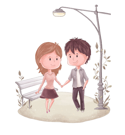 Man holds woman hand in the park illustration. Illustration