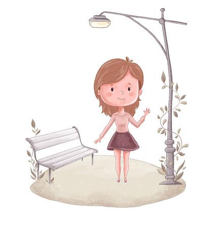 Cute girl vector illustration. Woman lovely print. Illustration