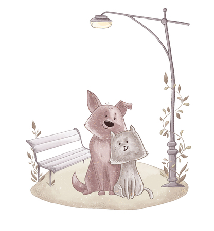 Cute happy dog and cat in the park illustration. Illustration