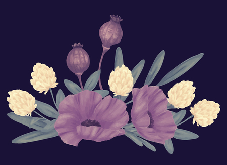 Flowers. Bouquet of poppy isolated on a plain background Illustration