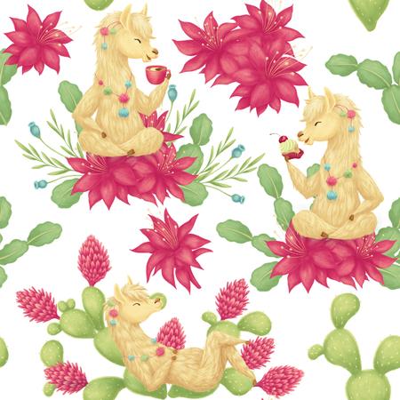 Seamless pattern with llama Stockfoto