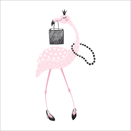 Flamingo cute print Stock Illustratie