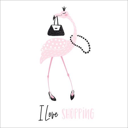 Flamingo cute print Illustration