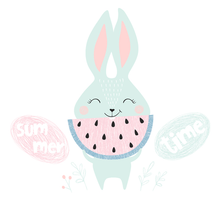 Cute bunny with watermelon print. Summer time slogan. Sweet rabbit with fruit. Fashion child vector. Cool scandinavian illustration for t-shirt, kids apparel, invitation design Ilustrace