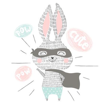 Super hero bunny 矢量图像
