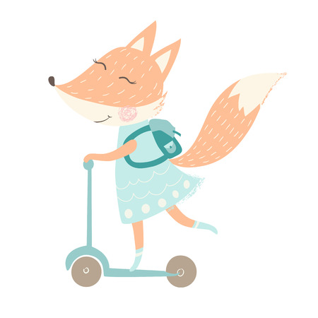 Cute fox with backpack print. Back to school, education and study concept. Animal ride on scooter. Fashion child vector. Cool scandinavian illustration for t-shirt, kids apparel, invitation, simple children design Banque d'images - 114957021