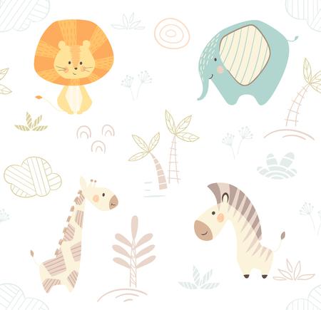 Lion giraffe, zebra, elephant baby cute seamless pattern. Sweet zoo animal print. Mother and child fashion child vector. Cool african safari illustration for nursery t-shirt, kids apparel, invitation