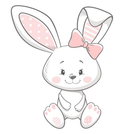 Bunny carino stampa. Scheda dell'acquazzone della neonata dolce. Lepre moda bambino vettore. Illustrazione di coniglio fresca e adorabile per maglietta della scuola materna, abbigliamento per bambini, invito, semplice design scandinavo per bambini Vettoriali