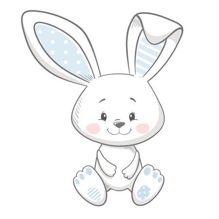 Lindo estampado de conejito. Tarjeta de ducha de bebé dulce. Vector de niño de moda de liebre. Ilustración de conejo fresco y encantador para camiseta de guardería, ropa para niños, invitación, diseño infantil escandinavo simple Ilustración de vector