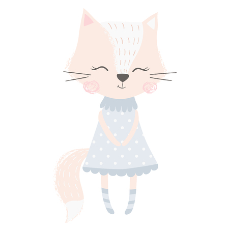Cute fox girl print. Sweet animal baby. Fashion child vector. Cool scandinavian illustration for t-shirt, kids apparel, invitation, simple children design Banque d'images - 112224297
