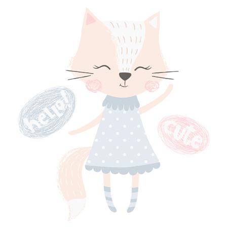 Cute fox girl print. Sweet animal baby waves her hand. Fashion child vector. Hello and cute slogan. Cool scandinavian illustration for t-shirt, kids apparel, invitation, simple children design