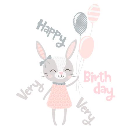 Simpatico coniglietto stampa. Coniglio dolce bambino con palloncini. Vettore di bambino moda lepre. Slogan di buon compleanno. Fantastica illustrazione scandinava per t-shirt, abbigliamento per bambini, invito, design semplice per bambini