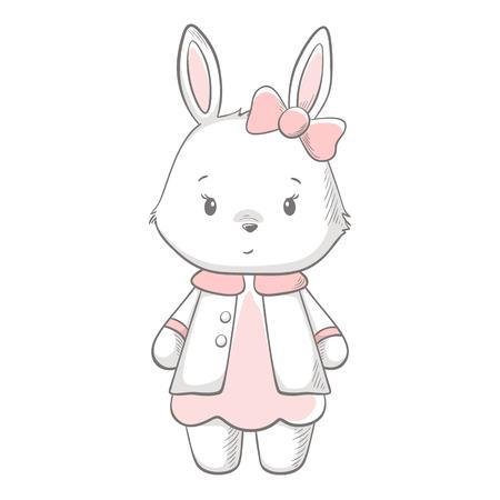 Bunny cute print. Sweet baby girl shower card. Illustration