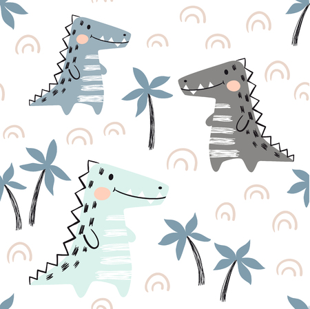 Crocodile baby seamless pattern. Dinosaur scandinavian cute print. Cool african animal illustration for nursery t-shirt, kids apparel, invitation cover, simple child background design. Baby shower card