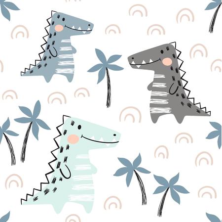 Crocodile baby seamless pattern. Dinosaur scandinavian cute print. Cool african animal illustration for nursery t-shirt, kids apparel, invitation cover, simple child background design. Baby shower card