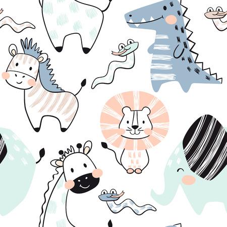 Lion, giraffe, elephant, crocodile, zebra, snake baby seamless pattern. Scandinavian cute print. Cool african animal for nursery t-shirt, kids apparel, invitation cover, simple child design Vektorové ilustrace