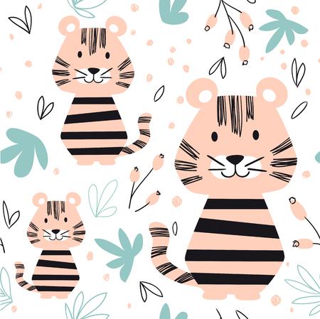 Tiger baby seamless pattern. Scandinavian cute print.