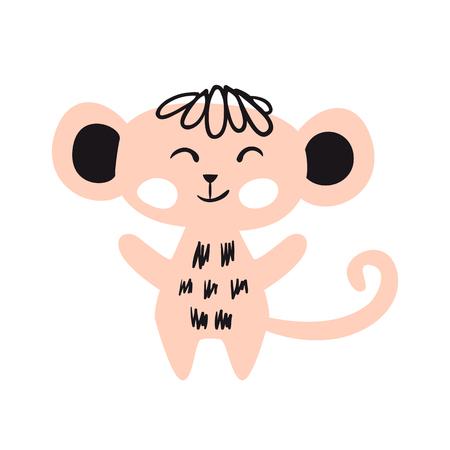 Monkey baby cute print set. Sweet zoo. Cool african animal illustration for nursery t-shirt, kids apparel, invitation, simple scandinavian child design. Little sweet ape  イラスト・ベクター素材