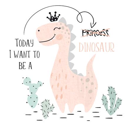 Stampa simpatica bambina dinosauro. Dolce principessa dino con corona. Fantastica illustrazione di brachiosauro per t-shirt vivaio, abbigliamento per bambini, invito, semplice design scandinavo per bambini. Slogan di testo. Vettoriali