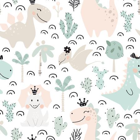 Nahtloses Muster des Dinosaurierbabys. Süße Dino-Prinzessin mit Krone. Skandinavischer niedlicher Druck. Coole Illustration für Kinderzimmer-T-Shirt, Kinderbekleidung, Einladungsabdeckung, einfaches Kinderhintergrunddesign