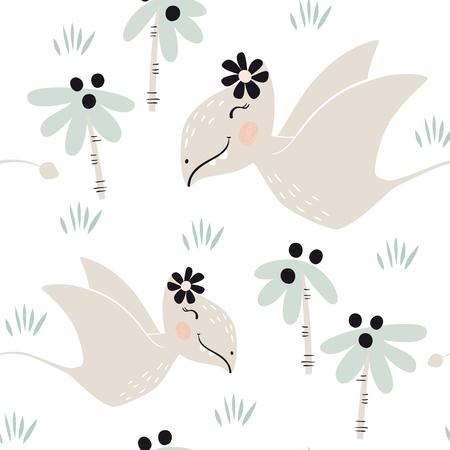 Dinosaur baby girl seamless pattern. Sweet dino princess with flower. Scandinavian cute print. 写真素材