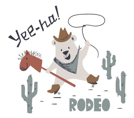 Niedźwiedź westernowy jeździć na koniu ładny nadruk. Hasło Dzikiego Zachodu. Zwierzę z kapeluszem, butem, liną na lasso. Fajna ilustracja na t-shirt dziecięcy, odzież dla dzieci, zaproszenie, prosty skandynawski projekt dziecka.