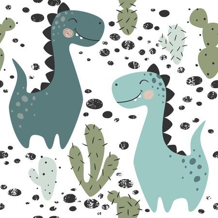 Reticolo senza giunte del neonato del dinosauro. Dino dolce con cactus. Simpatica stampa scandinava. Fantastico brachiosauro, illustrazione per t-shirt per la scuola materna, abbigliamento per bambini, copertina dell'invito, semplice sfondo per bambini Vettoriali