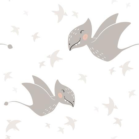 Dinosaur baby boy seamless pattern. Sweet dino scandinavian cute print. Cool pterodactyl, illustration for nursery t-shirt, kids apparel, invitation cover, simple child background design