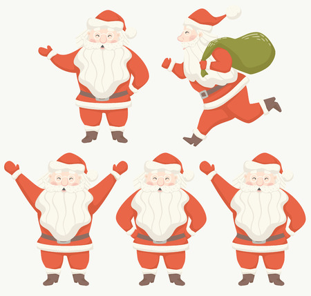 Santa Claus scandinavian style set. Ran with gift bag, stand, keep something, pose. Banco de Imagens