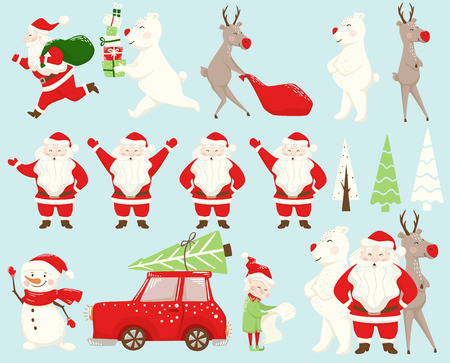 Christmas team set. Santa Claus, reindeer, bear, snowman, elf, car, for tree. New year character drag, carry, run, drive, deliver, stand. Scandinavian style vector illustration for holiday decorations