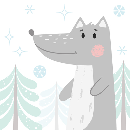 Wolf baby winter print. Cute animal in snowy forest christmas card. Cool animal illustration for nursery, t-shirt, kids apparel, party and baby shower invitation. Simple scandinavian child design Stock Illustratie