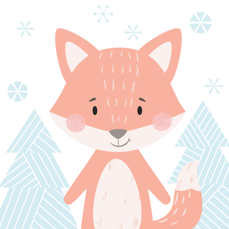 Fox baby winter print. Cute animal in snowy forest christmas card. Cool animal illustration for nursery, t-shirt, kids apparel, party and baby shower invitation. Simple scandinavian child design