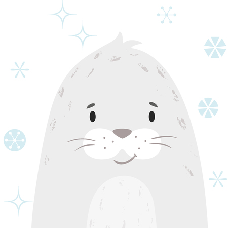 Seal baby winter print. Cute animal snowy christmas card. Cool sea calf illustration for nursery, t-shirt, kids apparel, party and baby shower invitation. Simple scandinavian child design