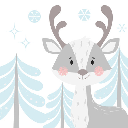 Deer baby winter print. Cute animal in snowy forest christmas card. Cool reindeer illustration for nursery, t-shirt, kids apparel, party and baby shower invitation. Simple scandinavian child design.