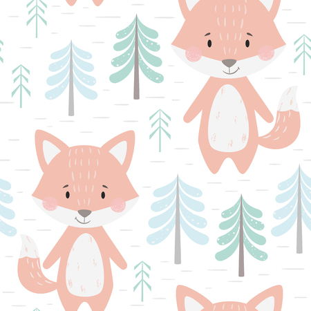 Fox baby winter seamless pattern. Cute animal in snowy forest christmas print. Cool illustration for nursery, t-shirt, kids apparel, party and baby shower invitation. Simple scandinavian child design.