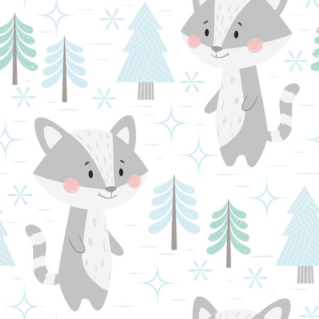 Raccoon baby winter seamless pattern. Cute animal in snowy forest christmas print. Cool illustration for nursery, t-shirt, kids apparel, party and baby shower invitation. Scandinavian child design
