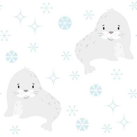 Seal baby winter seamless pattern. Cute animal in snowy forest christmas print. Cool illustration for nursery, t-shirt, kids apparel, party and baby shower invitation. Simple scandinavian child design 版權商用圖片 - 127669852