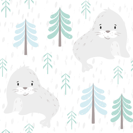 Seal baby winter seamless pattern. Cute animal in snowy forest christmas print. Cool illustration for nursery, t-shirt, kids apparel, party and baby shower invitation. Simple scandinavian child design 向量圖像