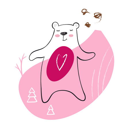 Dancing bear baby print. Cute animal listens to music with simple abstract design. Cool teddybear illustration for nursery, t-shirt, kids apparel, child party and baby shower invitation