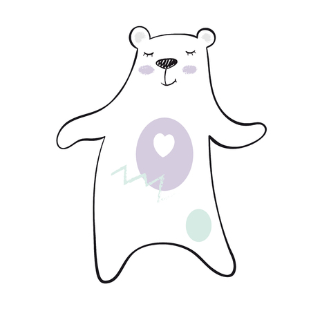 Dancing bear baby print. Cute animal listens to music with simple abstract design. Cool teddybear illustration for nursery, t-shirt, kids apparel, child party and baby shower invitation 版權商用圖片 - 127258549