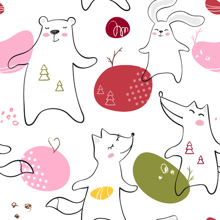 Dancing bear, fox, wolf, bunny baby seamless pattern. Cute animal listens to music with simple abstract design. Cool illustration for nursery, t-shirt, kids apparel, child background