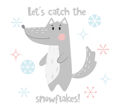 Wolf baby winter print. Cute animal in snowy forest christmas card. Cool animal illustration for nursery, t-shirt, kids apparel, party and baby shower invitation. Simple scandinavian child design 版權商用圖片 - 127087024