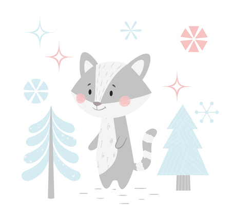 Raccoon baby winter print. Cute coon in snowy forest christmas card. Cool coon illustration for nursery, t-shirt, kids apparel, party and baby shower invitation. Simple scandinavian child design.