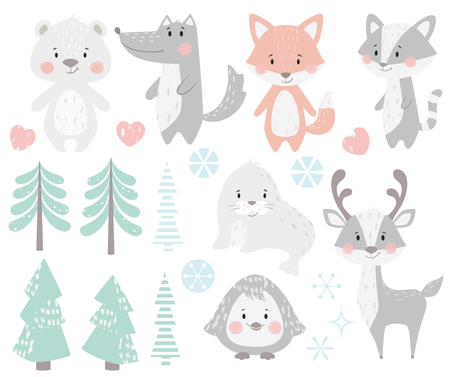 Reindeer, raccoon, seal, wolf, penguin, bear, fox baby winter set. Cute animal, forest tree, snowflake christmas illustration for nursery, t-shirt, kids apparel, baby shower. Scandinavian child design Vector Illustratie