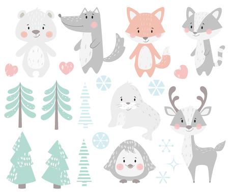 Reno, mapache, foca, lobo, pingüino, oso, zorro bebé conjunto de invierno. Animal lindo, árbol del bosque, ilustración de Navidad de copo de nieve para guardería, camiseta, ropa para niños, baby shower. Diseño infantil escandinavo Ilustración de vector