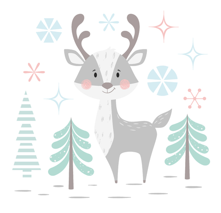 Deer baby winter print. Cute animal in snowy forest christmas card. Cool reindeer illustration for nursery, t-shirt, kids apparel, party and baby shower invitation. Simple scandinavian child design. 版權商用圖片 - 127087027