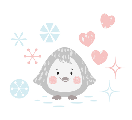 Penguin baby winter print. Cute animal with snowflake christmas card. Cool animal illustration for nursery, t-shirt, kids apparel, party and baby shower invitation. Simple scandinavian child design 版權商用圖片 - 127087028