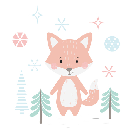 Fox baby winter print. Cute animal in snowy forest christmas card. Cool animal illustration for nursery, t-shirt, kids apparel, party and baby shower invitation. Simple scandinavian child design 版權商用圖片 - 127087029
